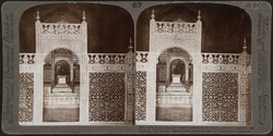 Most beautiful marble screen in the world, around imperial sarcophagi, Taj Mahal, Agra, India.